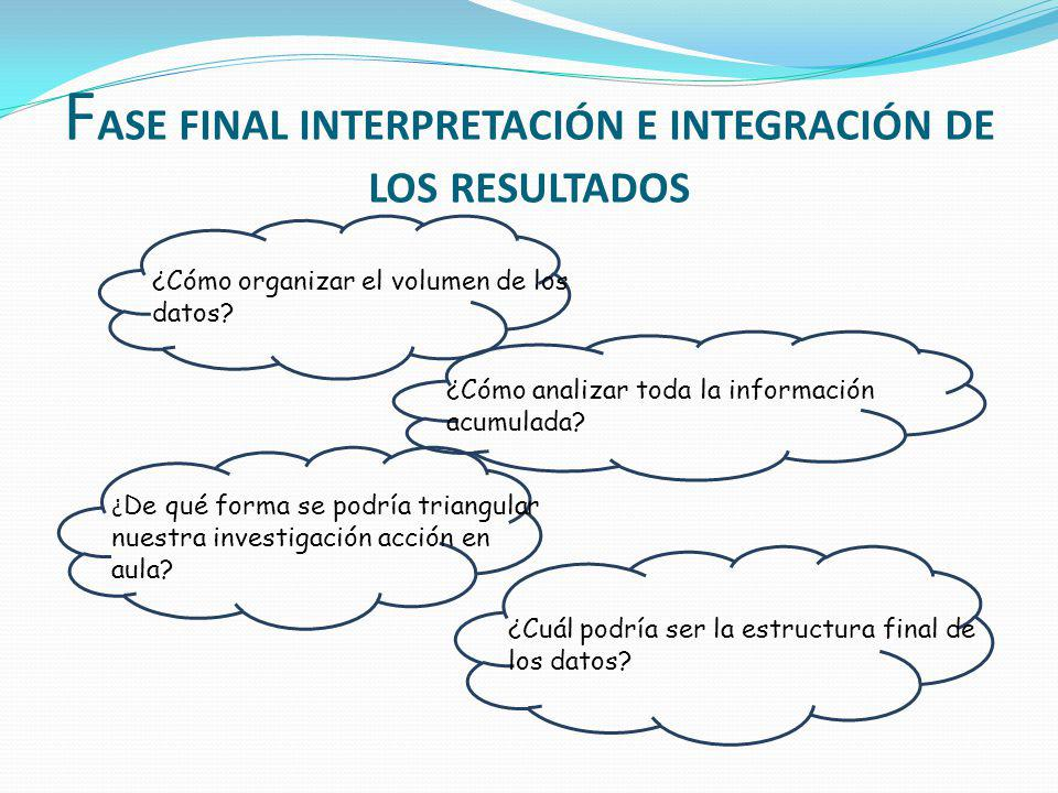 FASE FINAL INTERPRETACIÓN E INTEGRACIÓN DE LOS RESULTADOS