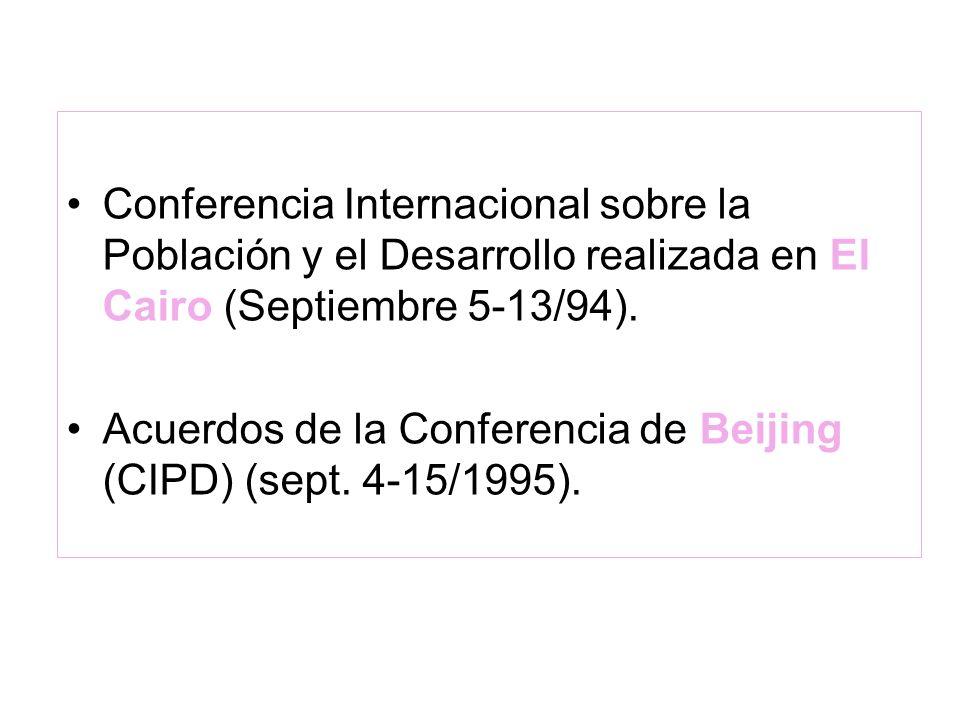 Conferencia Internacional sobre la Población y el Desarrollo realizada en El Cairo (Septiembre 5-13/94).