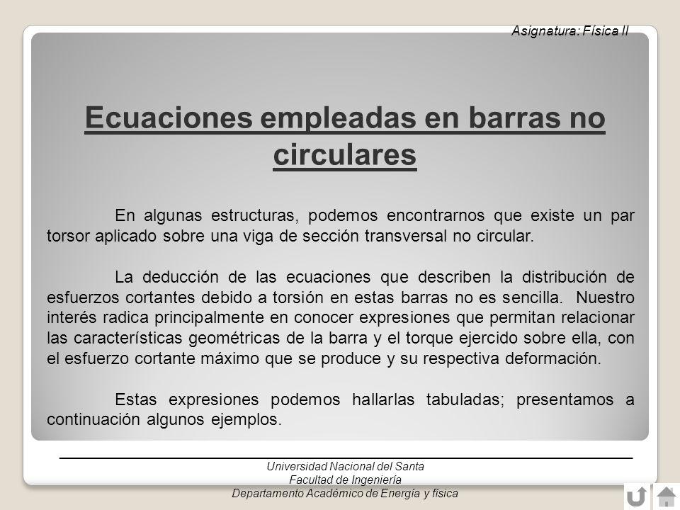 Ecuaciones empleadas en barras no circulares