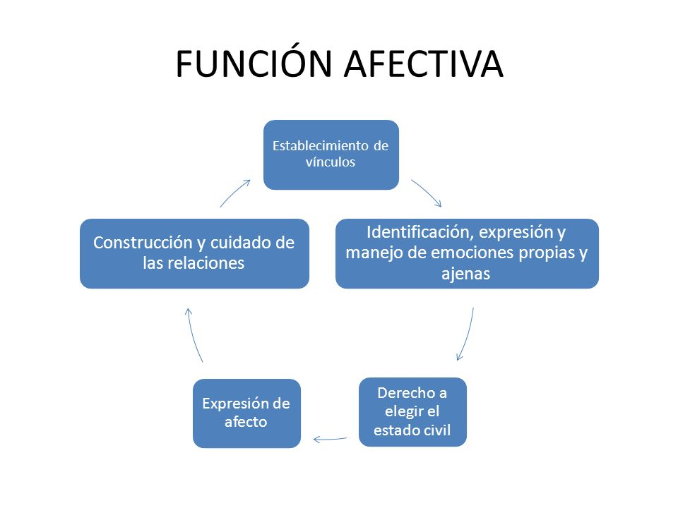 FUNCIÓN AFECTIVA Establecimiento de vínculos. Identificación, expresión y manejo de emociones propias y ajenas.