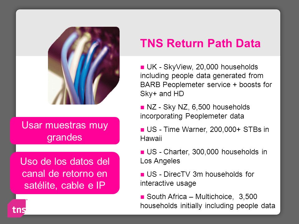 TNS Return Path Data Usar muestras muy grandes