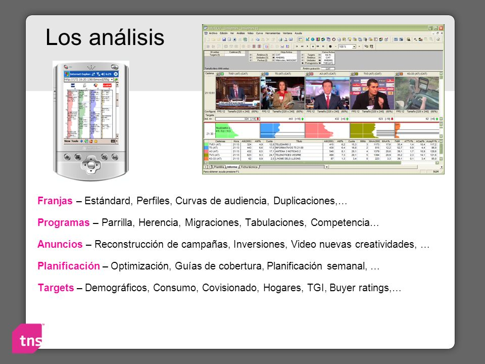 Los análisis Franjas – Estándard, Perfiles, Curvas de audiencia, Duplicaciones,…