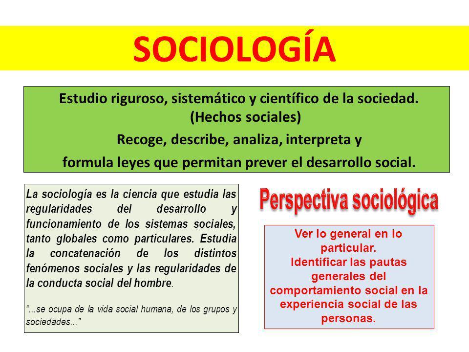Perspectiva sociológica Ver lo general en lo particular.