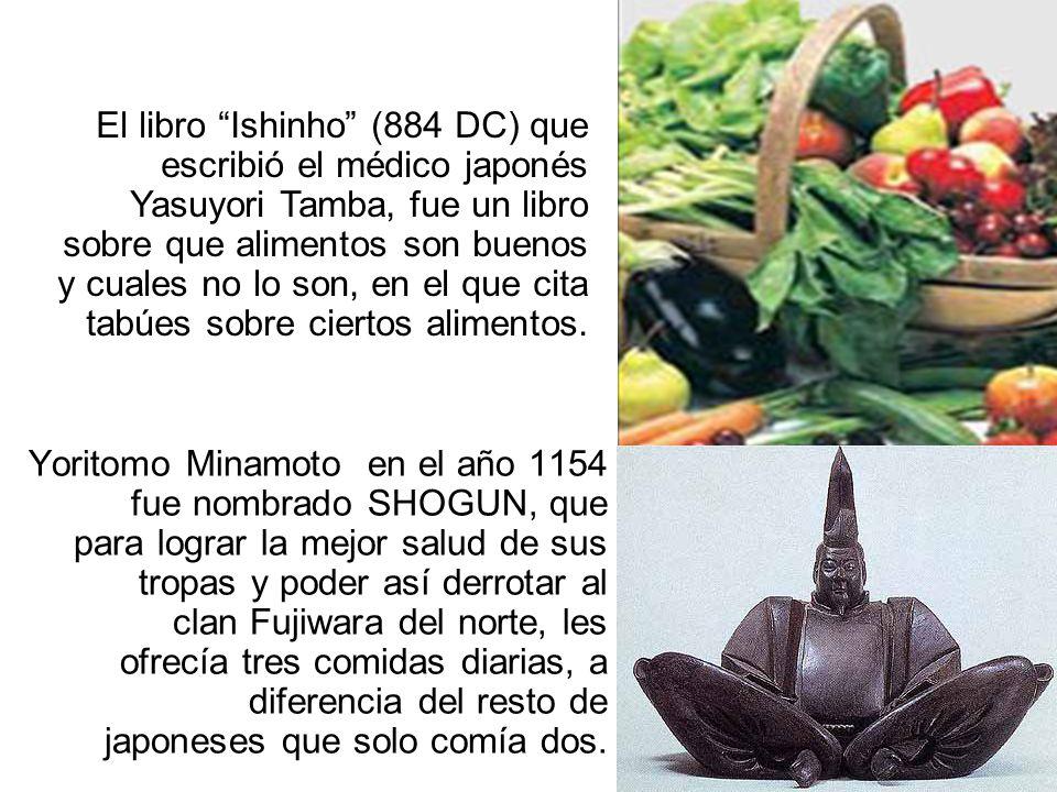 El libro Ishinho (884 DC) que escribió el médico japonés Yasuyori Tamba, fue un libro sobre que alimentos son buenos y cuales no lo son, en el que cita tabúes sobre ciertos alimentos.