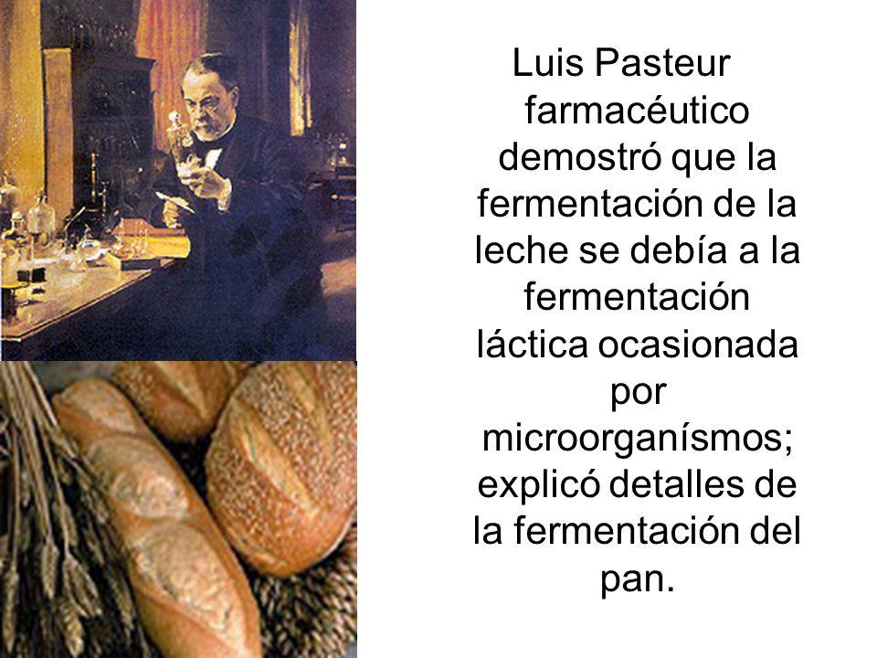 Luis Pasteur farmacéutico demostró que la fermentación de la leche se debía a la fermentación láctica ocasionada por microorganísmos; explicó detalles de la fermentación del pan.