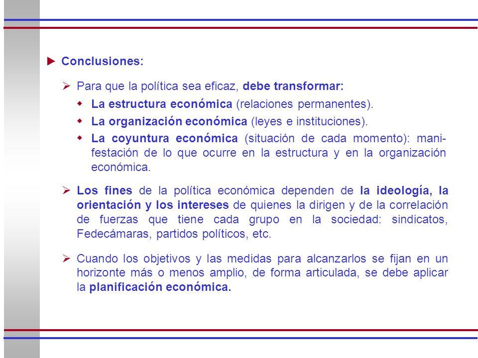 Conclusiones: Para que la política sea eficaz, debe transformar: La estructura económica (relaciones permanentes).
