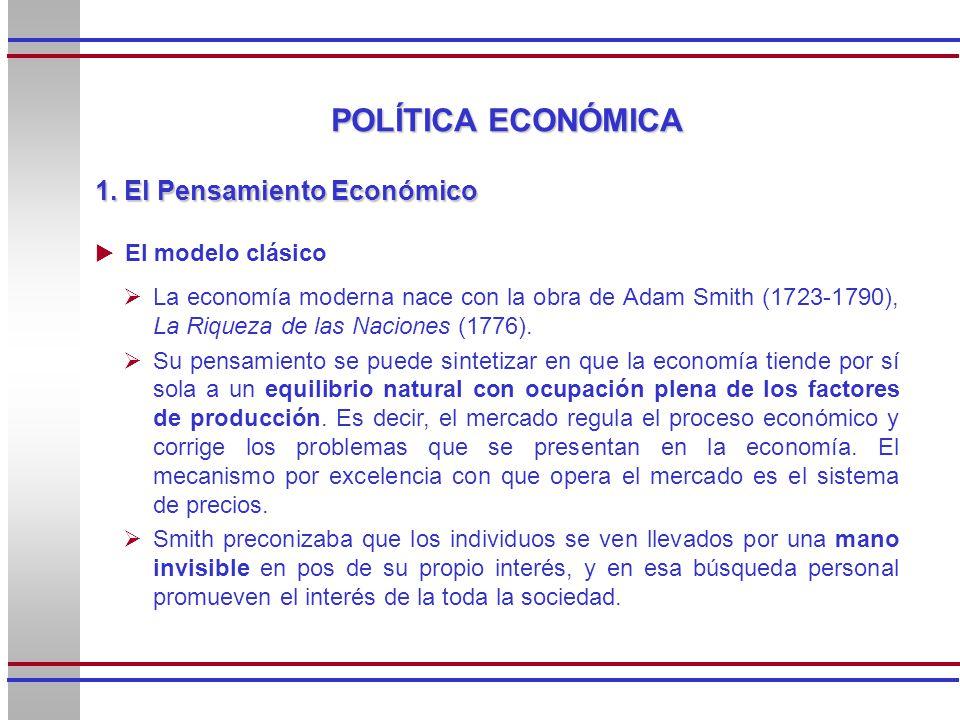 POLÍTICA ECONÓMICA 1. El Pensamiento Económico El modelo clásico