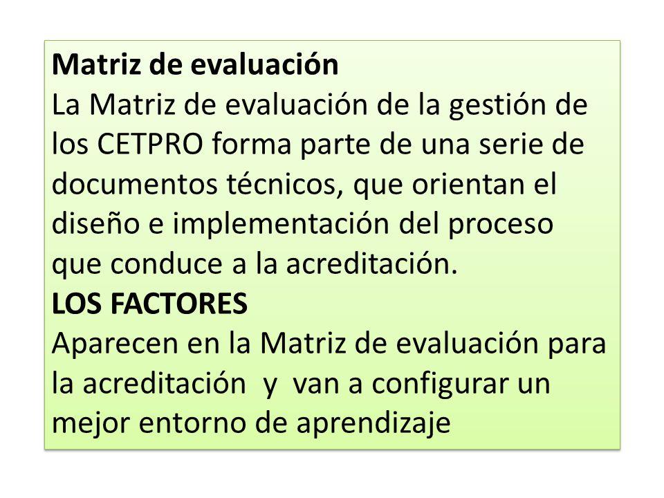 Matriz de evaluación La Matriz de evaluación de la gestión de los CETPRO forma parte de una serie de.