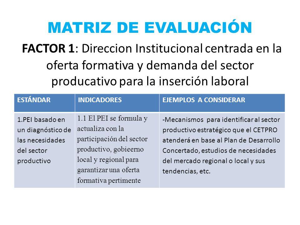 MATRIZ DE EVALUACIÓN FACTOR 1: Direccion Institucional centrada en la oferta formativa y demanda del sector producativo para la inserción laboral