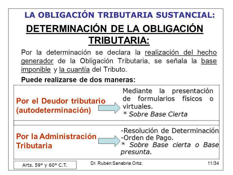 DETERMINACIÓN DE LA OBLIGACIÓN TRIBUTARIA: