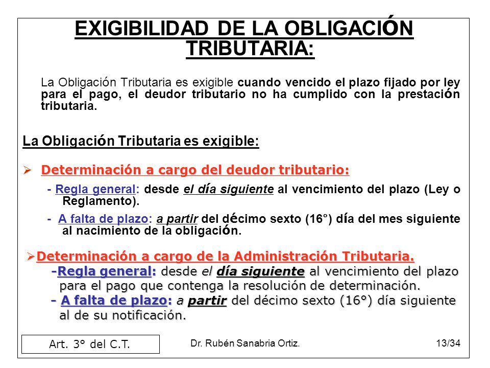 EXIGIBILIDAD DE LA OBLIGACIÓN TRIBUTARIA: