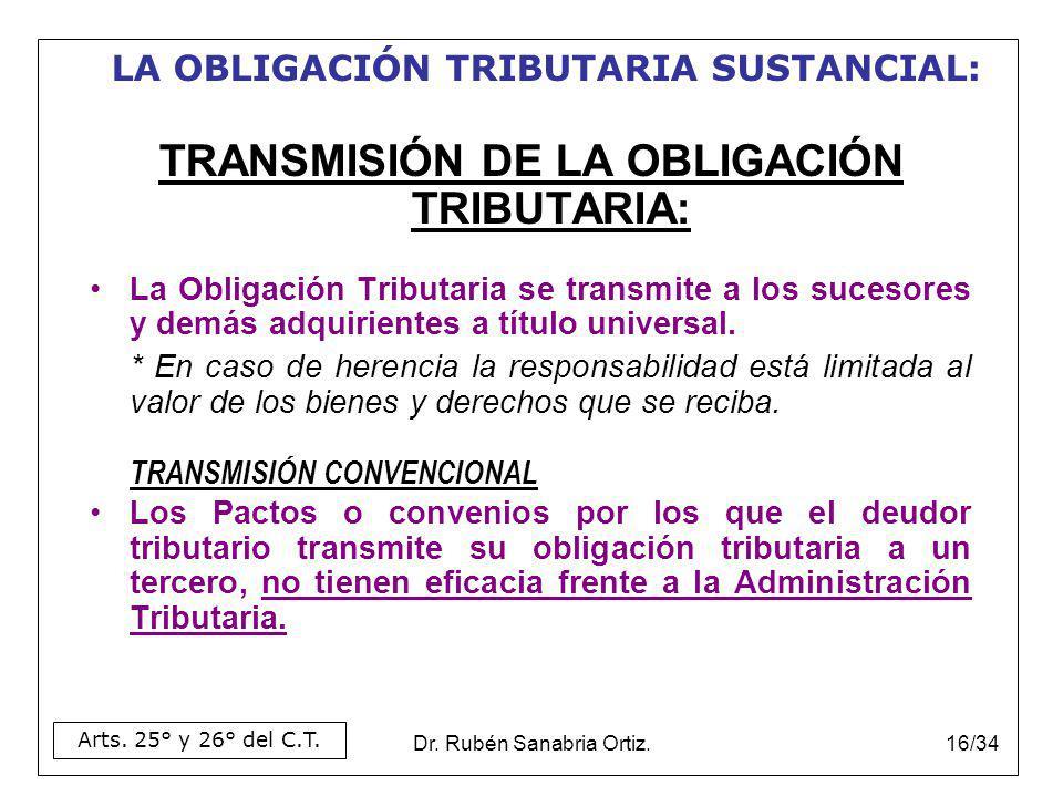 TRANSMISIÓN DE LA OBLIGACIÓN TRIBUTARIA: