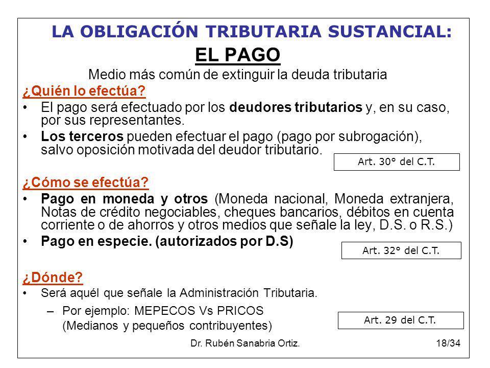 EL PAGO LA OBLIGACIÓN TRIBUTARIA SUSTANCIAL: