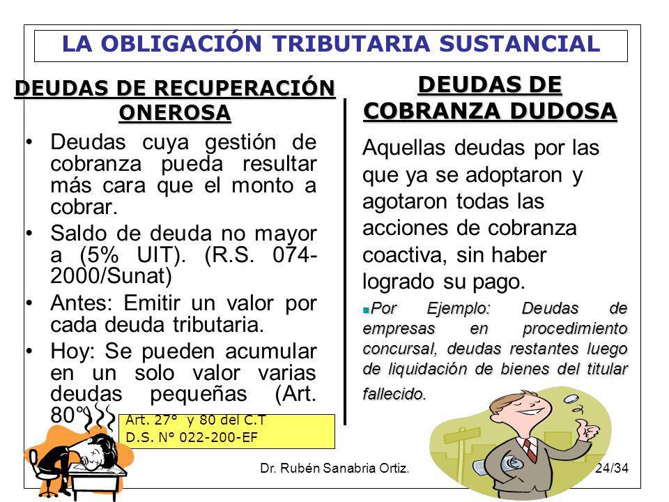 DEUDAS DE COBRANZA DUDOSA DEUDAS DE RECUPERACIÓN ONEROSA