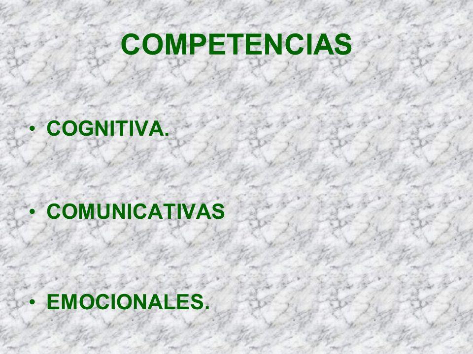 COMPETENCIAS COGNITIVA. COMUNICATIVAS EMOCIONALES.