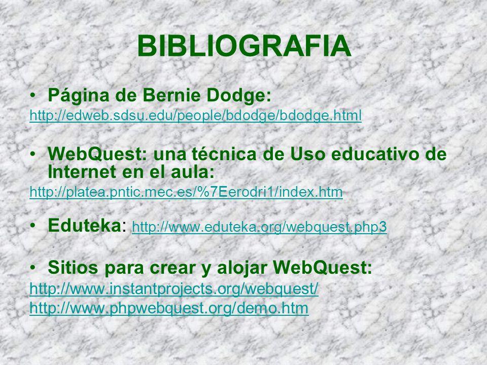 BIBLIOGRAFIA Página de Bernie Dodge:
