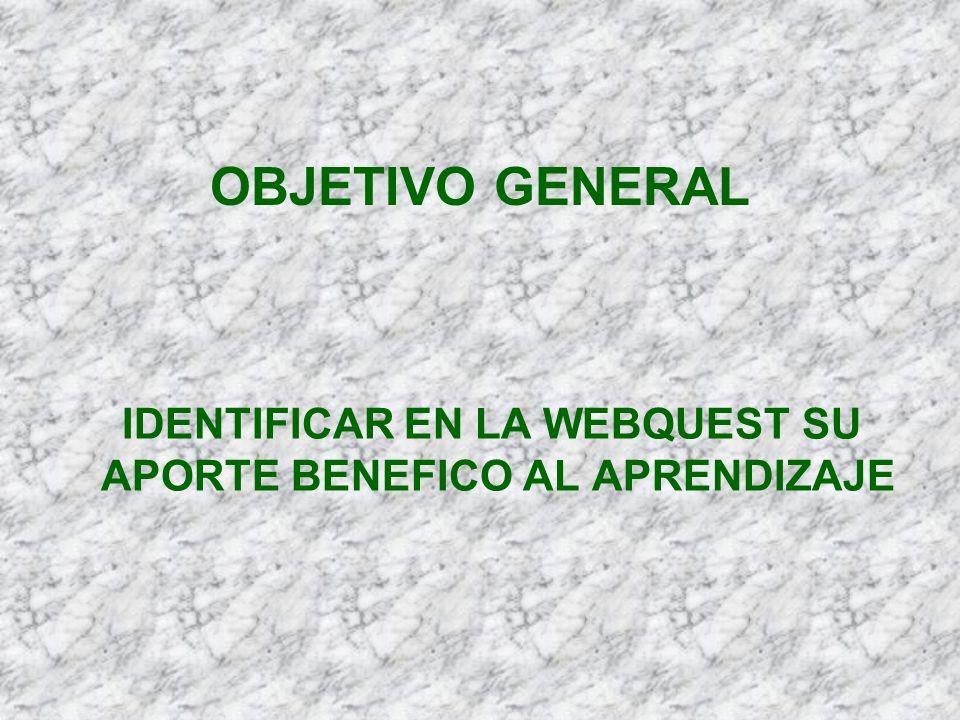 IDENTIFICAR EN LA WEBQUEST SU APORTE BENEFICO AL APRENDIZAJE