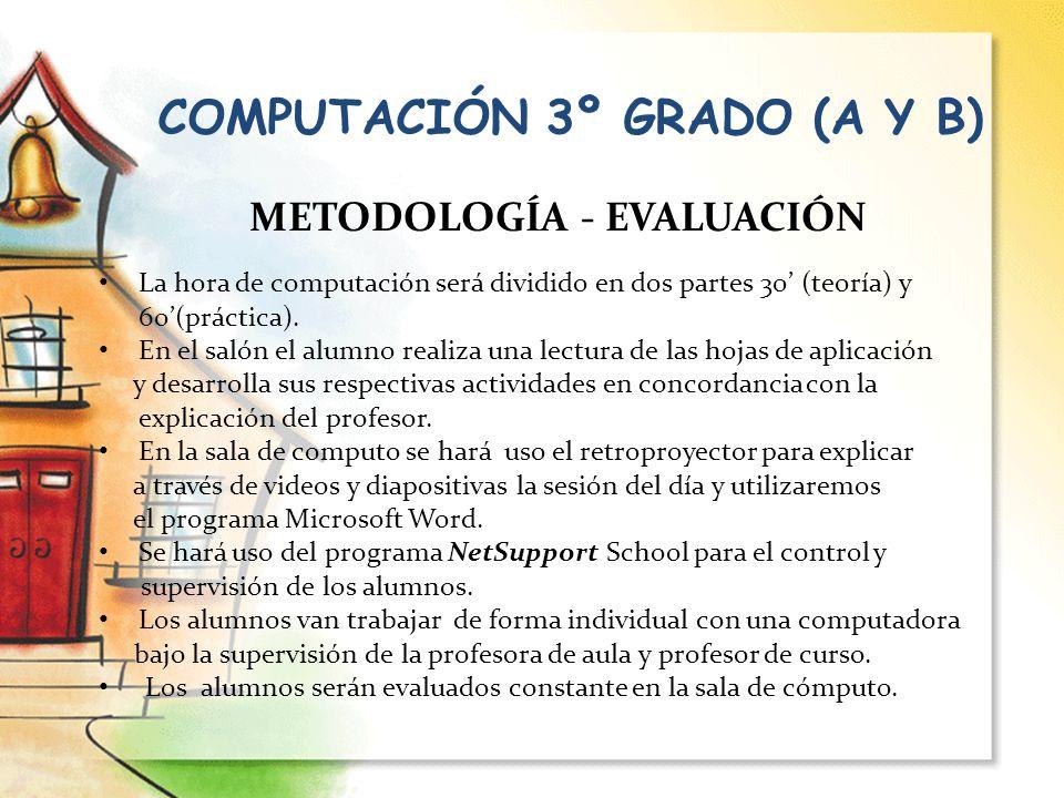 COMPUTACIÓN 3º GRADO (A Y B) METODOLOGÍA - EVALUACIÓN