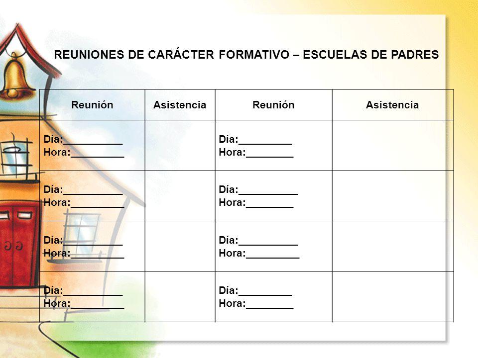 REUNIONES DE CARÁCTER FORMATIVO – ESCUELAS DE PADRES