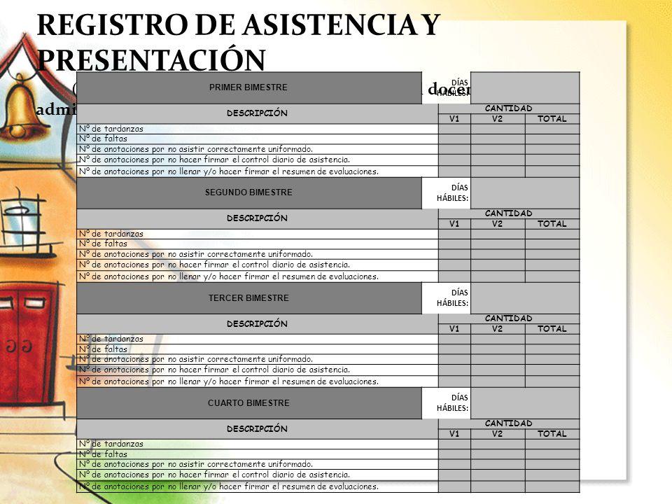 REGISTRO DE ASISTENCIA Y PRESENTACIÓN