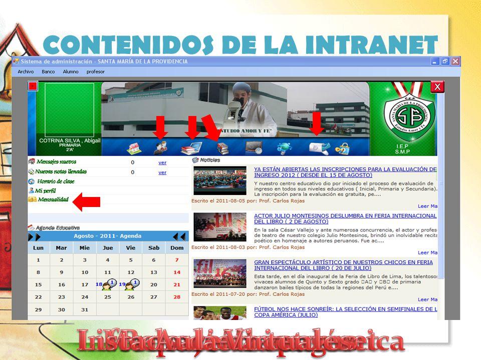 CONTENIDOS DE LA INTRANET