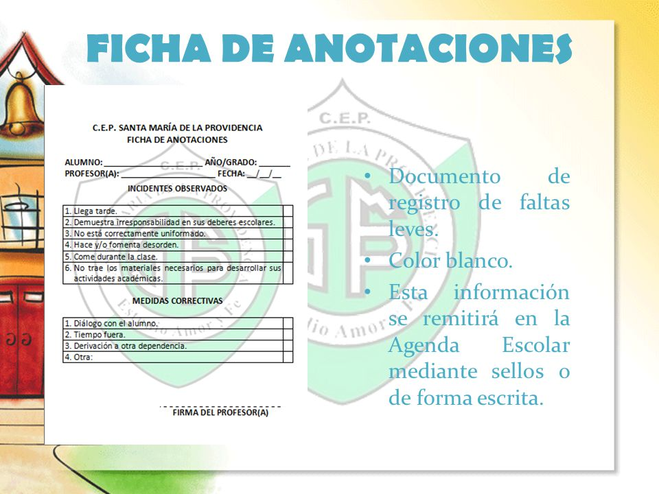 FICHA DE ANOTACIONES Documento de registro de faltas leves.