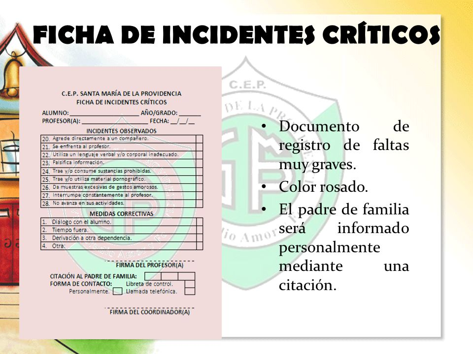FICHA DE INCIDENTES CRÍTICOS