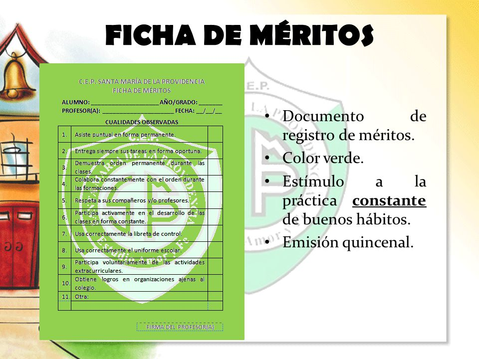 FICHA DE MÉRITOS Documento de registro de méritos. Color verde.
