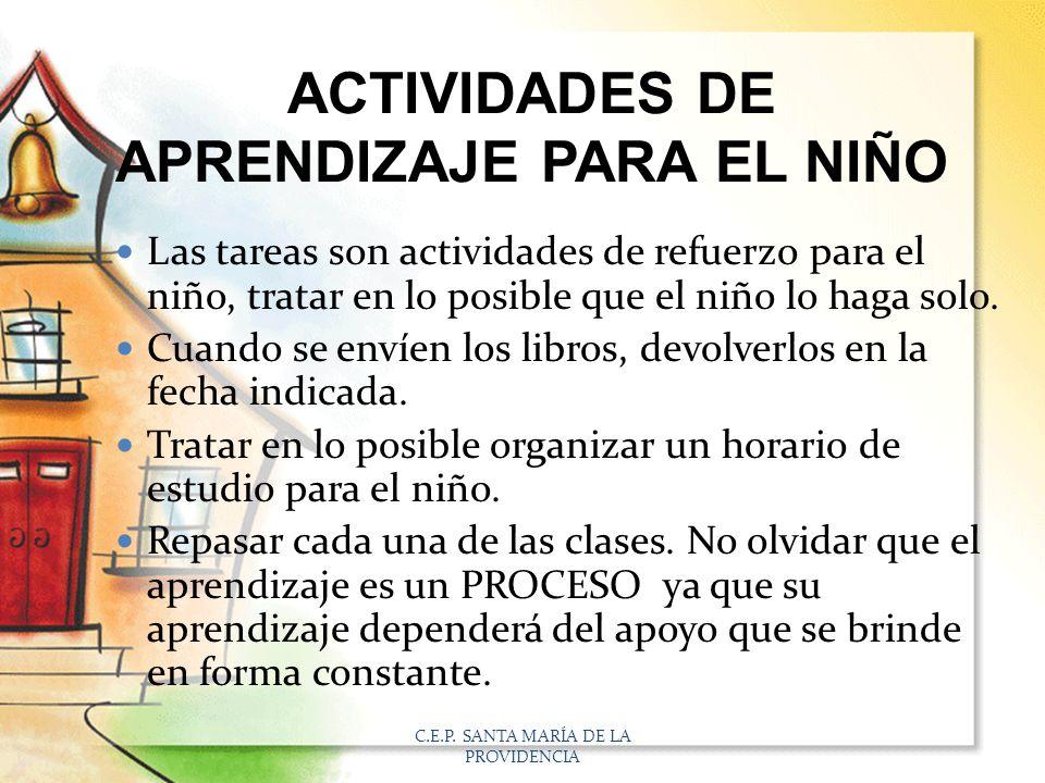 ACTIVIDADES DE APRENDIZAJE PARA EL NIÑO