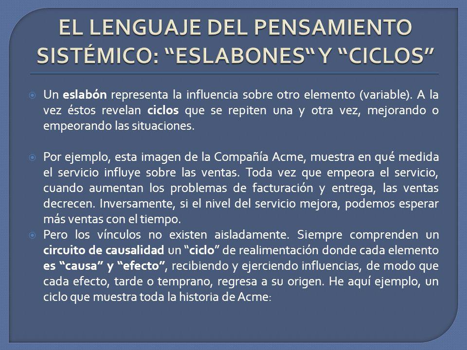 EL LENGUAJE DEL PENSAMIENTO SISTÉMICO: ESLABONES Y CICLOS