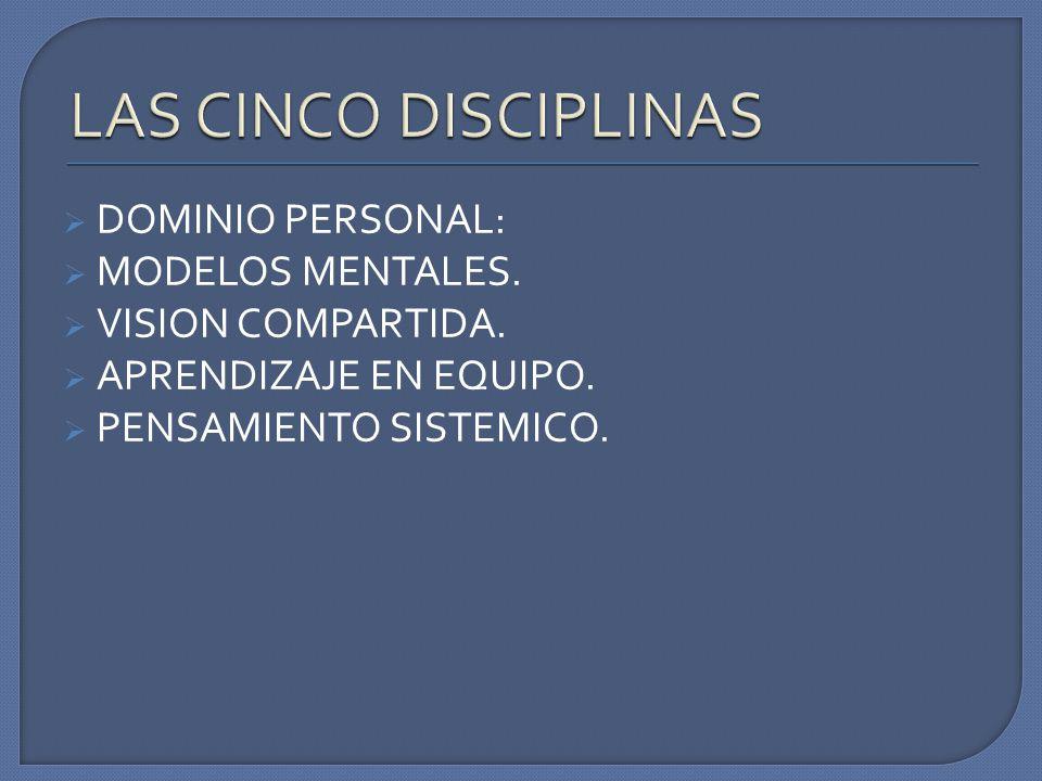 LAS CINCO DISCIPLINAS DOMINIO PERSONAL: MODELOS MENTALES.