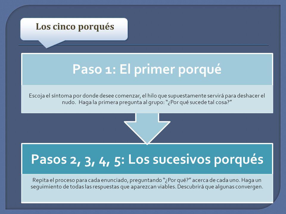 Pasos 2, 3, 4, 5: Los sucesivos porqués