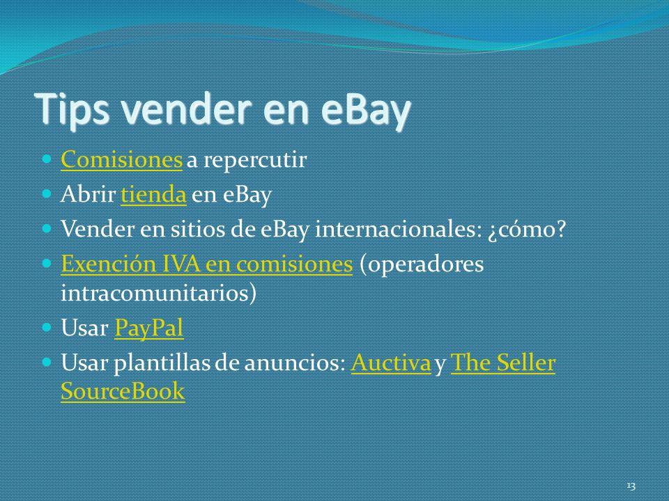 Tips vender en eBay Comisiones a repercutir Abrir tienda en eBay