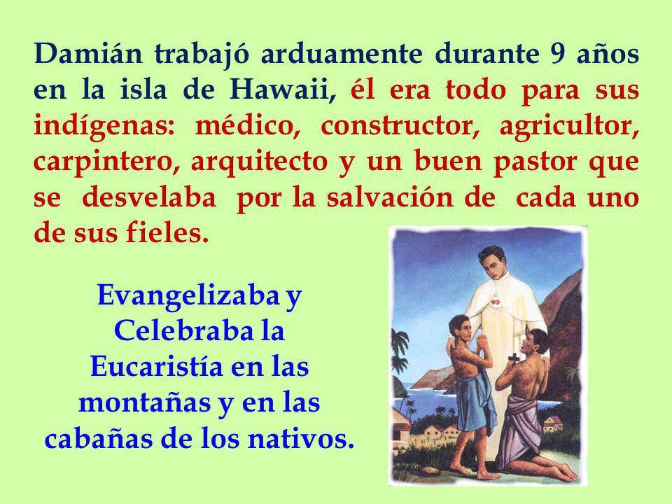 Damián trabajó arduamente durante 9 años en la isla de Hawaii, él era todo para sus indígenas: médico, constructor, agricultor, carpintero, arquitecto y un buen pastor que se desvelaba por la salvación de cada uno de sus fieles.