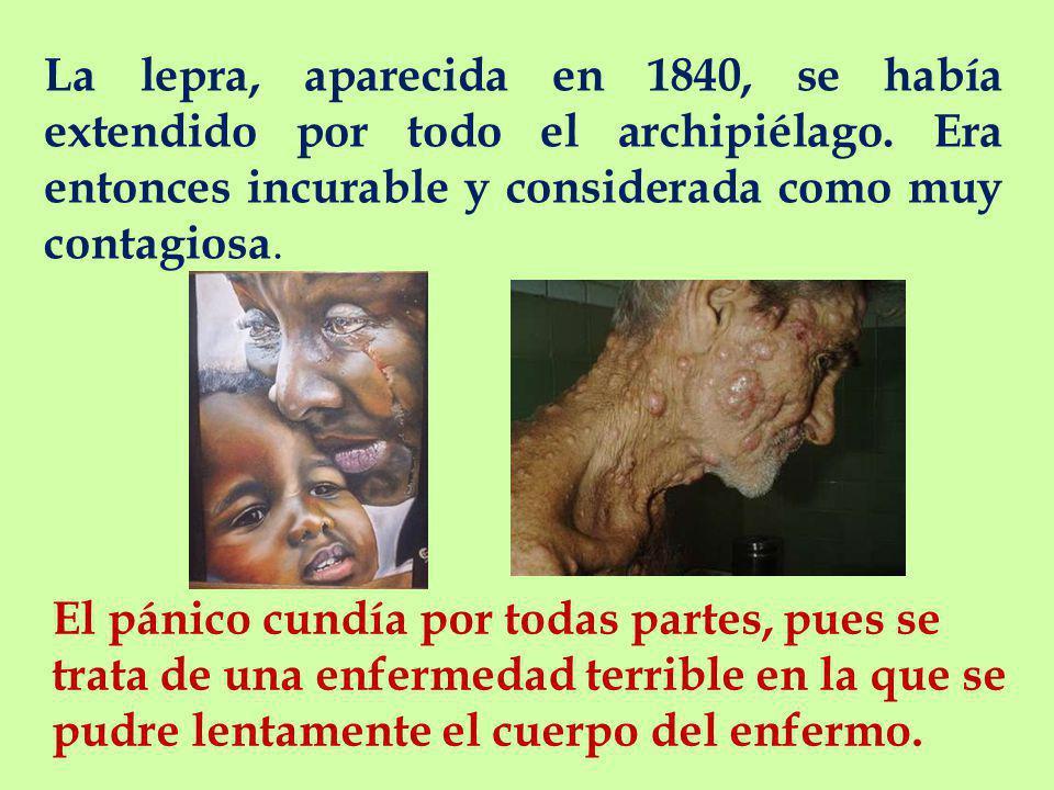 La lepra, aparecida en 1840, se había extendido por todo el archipiélago. Era entonces incurable y considerada como muy contagiosa.