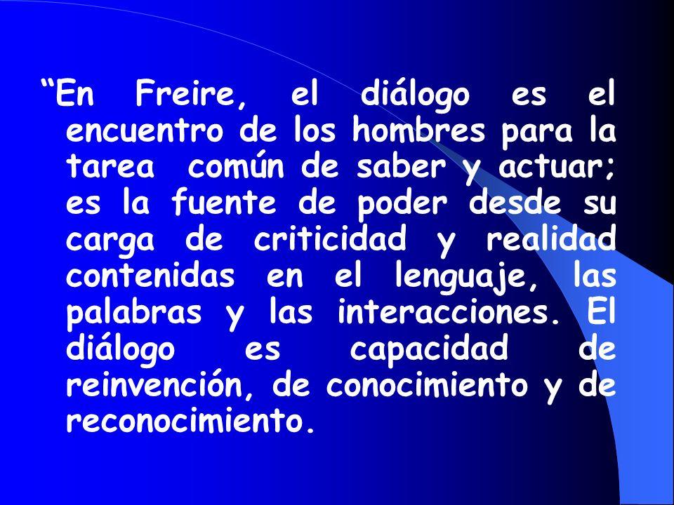En Freire, el diálogo es el encuentro de los hombres para la tarea común de saber y actuar; es la fuente de poder desde su carga de criticidad y realidad contenidas en el lenguaje, las palabras y las interacciones. El diálogo es capacidad de reinvención, de conocimiento y de reconocimiento.