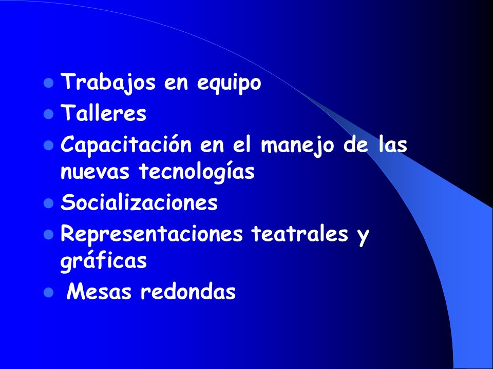Trabajos en equipo Talleres. Capacitación en el manejo de las nuevas tecnologías. Socializaciones.