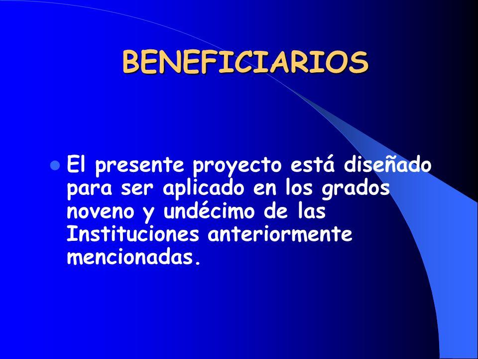 BENEFICIARIOSEl presente proyecto está diseñado para ser aplicado en los grados noveno y undécimo de las Instituciones anteriormente mencionadas.