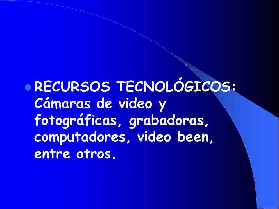 RECURSOS TECNOLÓGICOS: Cámaras de video y fotográficas, grabadoras, computadores, video been, entre otros.