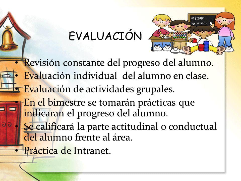 EVALUACIÓN Revisión constante del progreso del alumno.