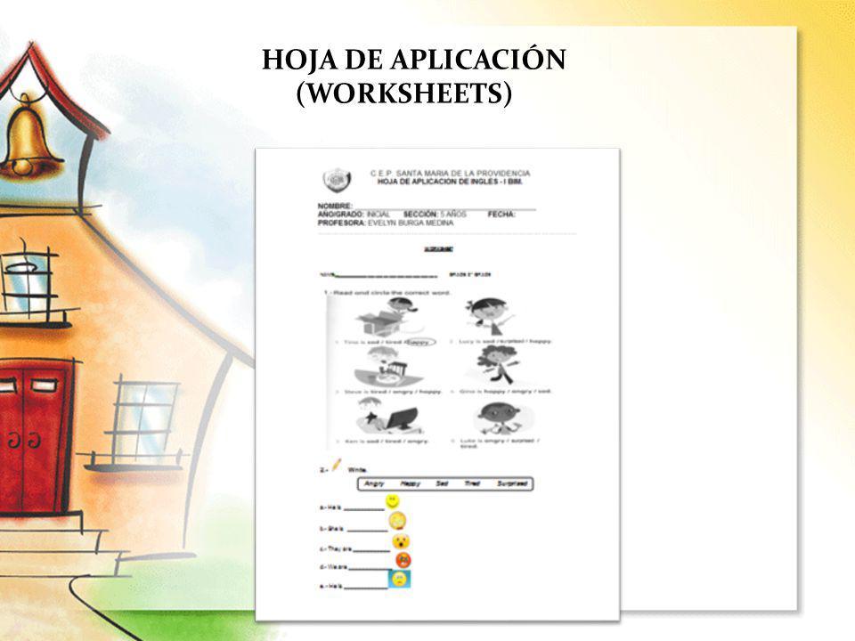 HOJA DE APLICACIÓN (WORKSHEETS)