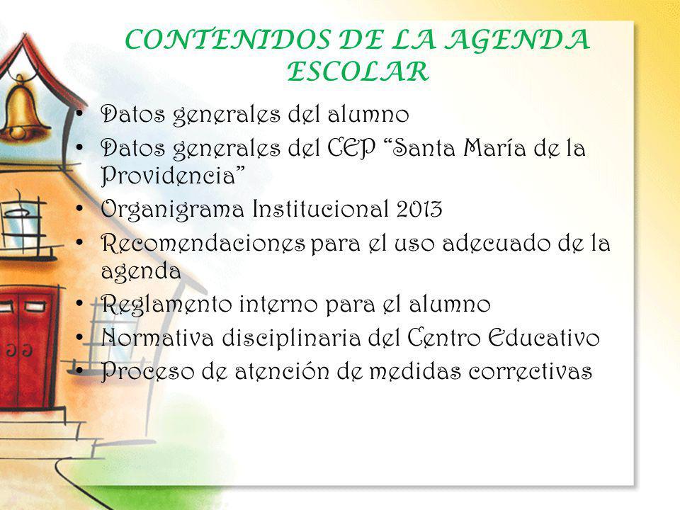 CONTENIDOS DE LA AGENDA ESCOLAR