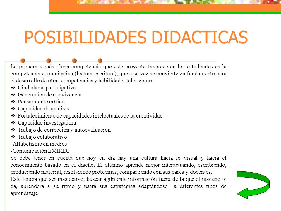 POSIBILIDADES DIDACTICAS