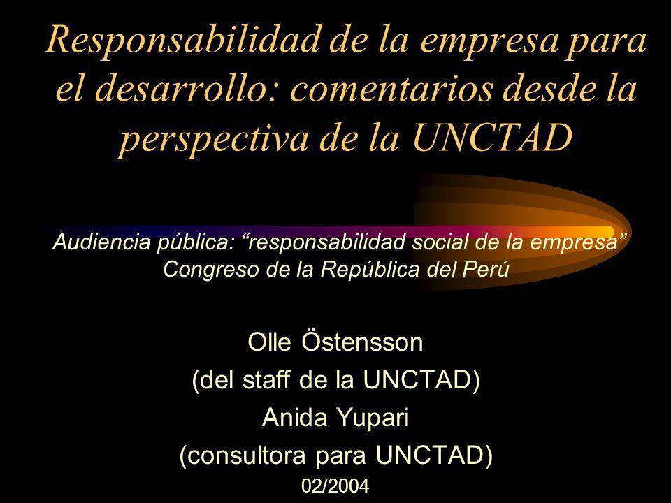Responsabilidad de la empresa para el desarrollo: comentarios desde la perspectiva de la UNCTAD