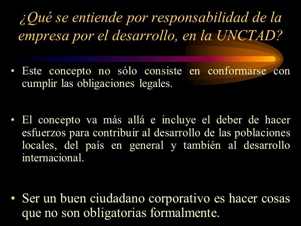 ¿Qué se entiende por responsabilidad de la empresa por el desarrollo, en la UNCTAD