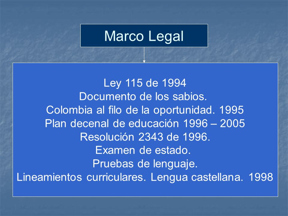 Marco Legal Ley 115 de 1994 Documento de los sabios.