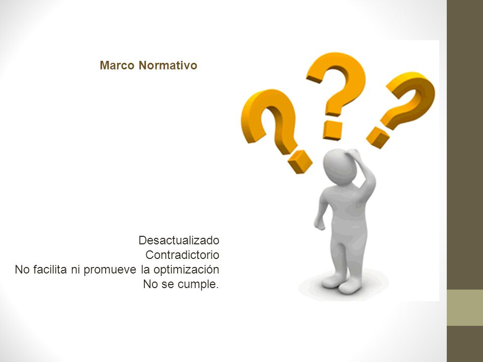 Marco Normativo Desactualizado Contradictorio No facilita ni promueve la optimización No se cumple.