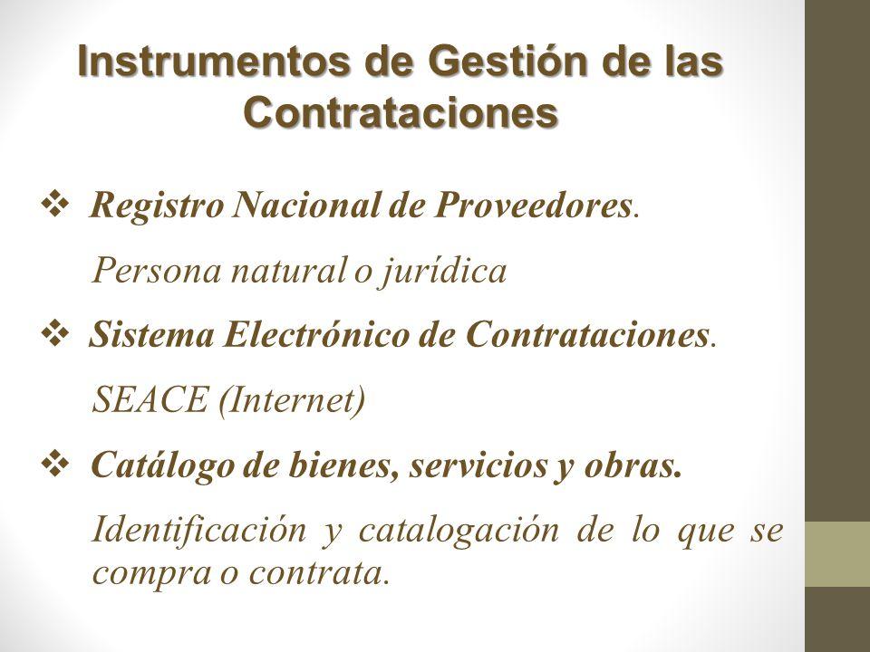 Instrumentos de Gestión de las Contrataciones