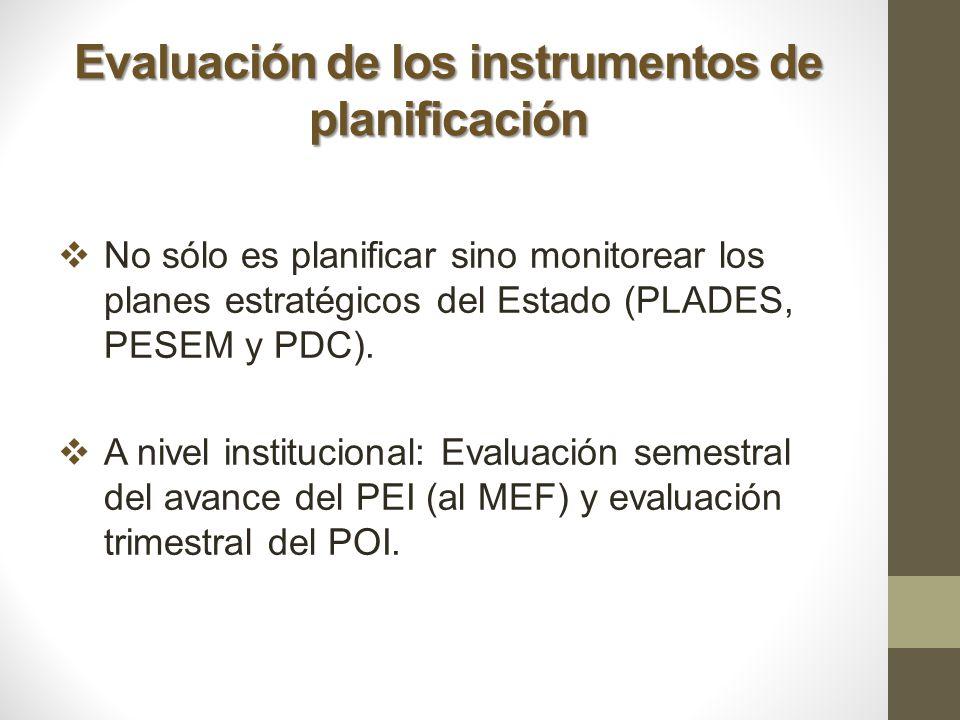 Evaluación de los instrumentos de planificación