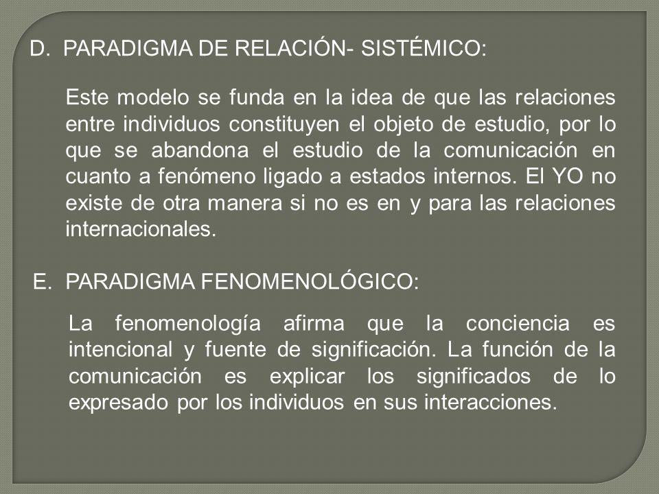 D. PARADIGMA DE RELACIÓN- SISTÉMICO: